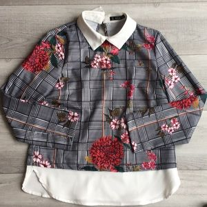 Pattered collar Shein blouse.